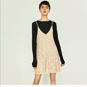 Zara lace dark cream spaghetti strap dress NWT L